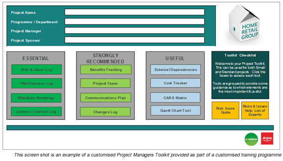 Screenshot of Project Managers Toolkit
