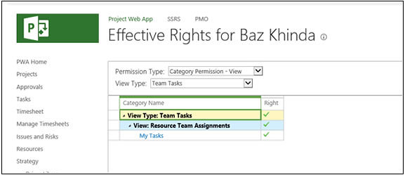 Effective Rights - Microsoft Project