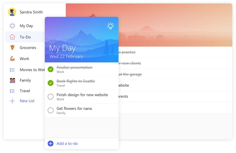 Screenshot of task list from Microsoft To-Do